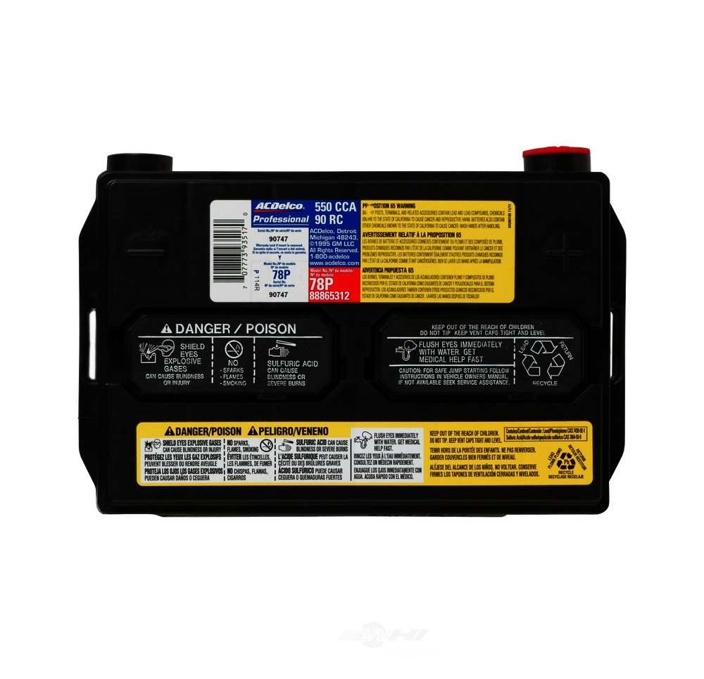 Ac Delco Battery Warranty >> ACDELCO PROFESSIONAL 88865312 BATTERY ASM 78P | Pro Auto Parts World
