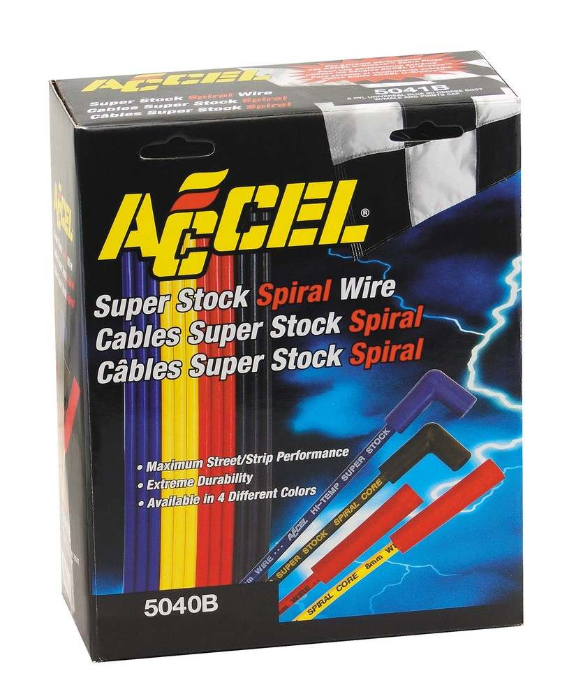 ACCEL - Universal Fit Super Stock 8mm Spiral Spark Plug Wire Set - ACC 5040B