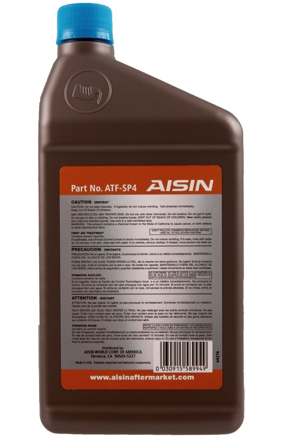 AISIN WORLD CORP. OF AMERICA - Auto Trans Fluid - AIS ATF-SP4