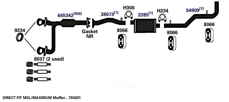AP EXHAUST W/FEDERAL CONVERTER - Exhaust System Hanger - APF 8066