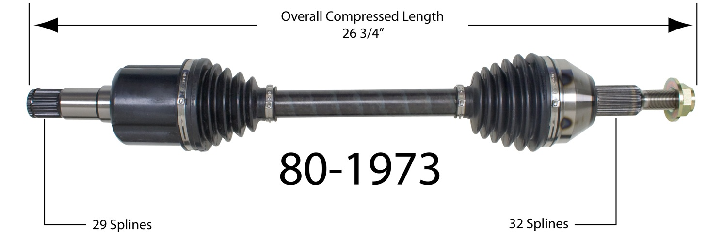 EMPIRE - Empire New CV Axle Assembly (Front Left) - BAY 80-1973