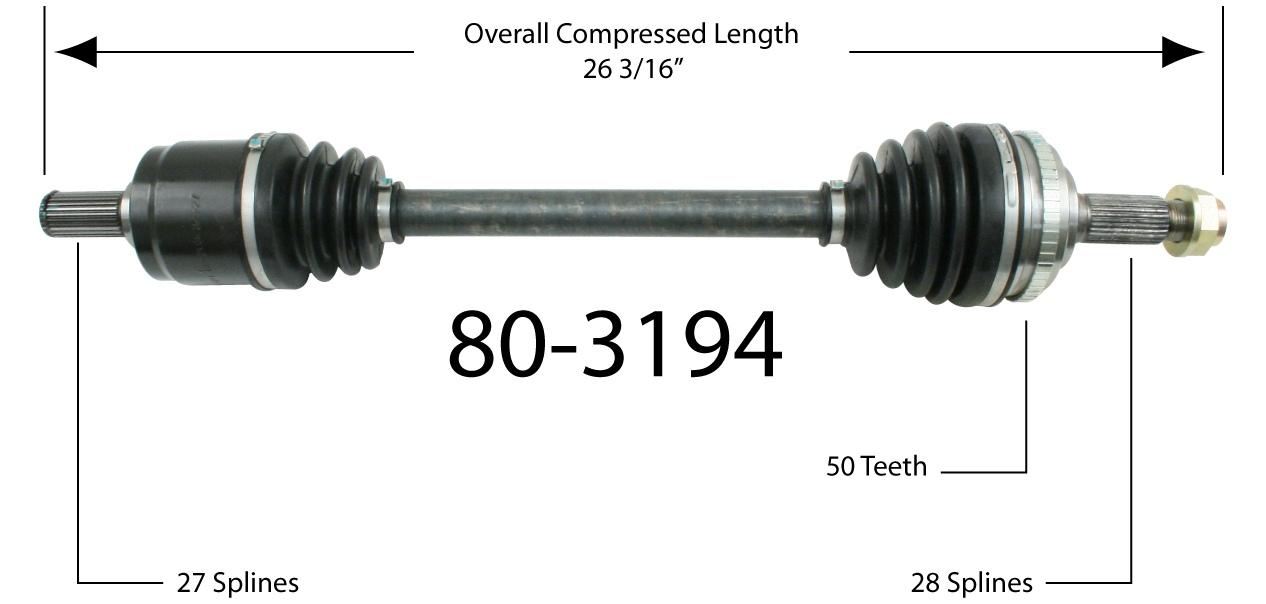EMPI INC. - CV Joint Half Shaft - BAY 80-3194