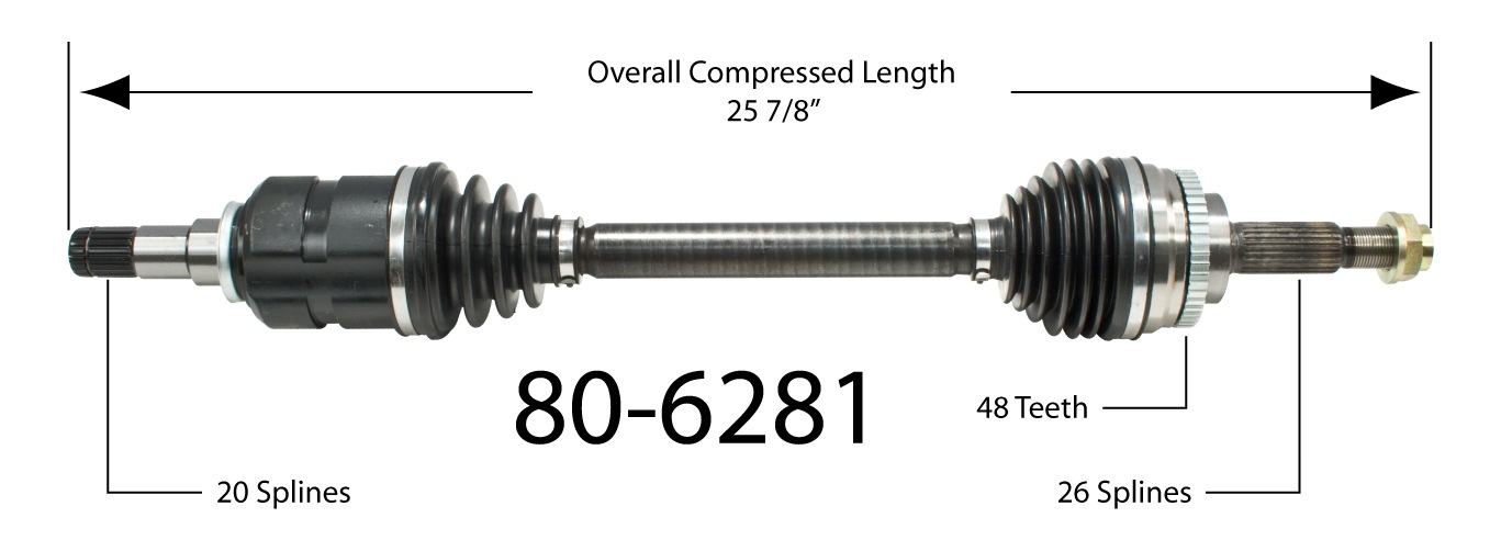 EMPIRE - Empire New CV Axle Assembly (Front Left) - BAY 80-6281