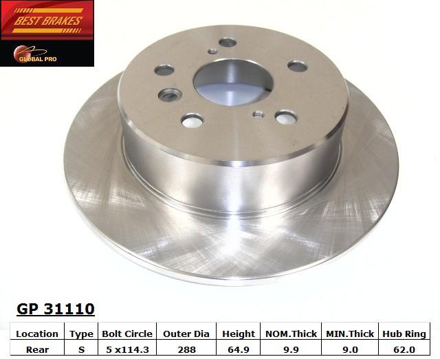BEST BRAKES USA - Standard Brake Rotor (Rear) - BBU GP31110
