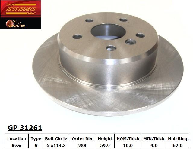 BEST BRAKES USA - Standard Brake Rotor (Rear) - BBU GP31261
