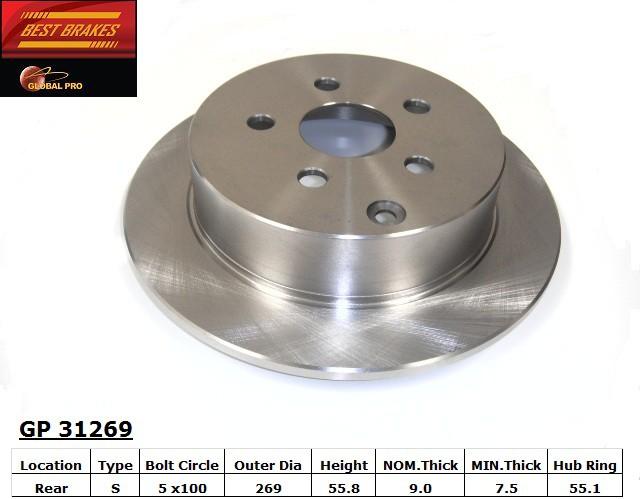 BEST BRAKES USA - Standard Brake Rotor - BBU GP31269