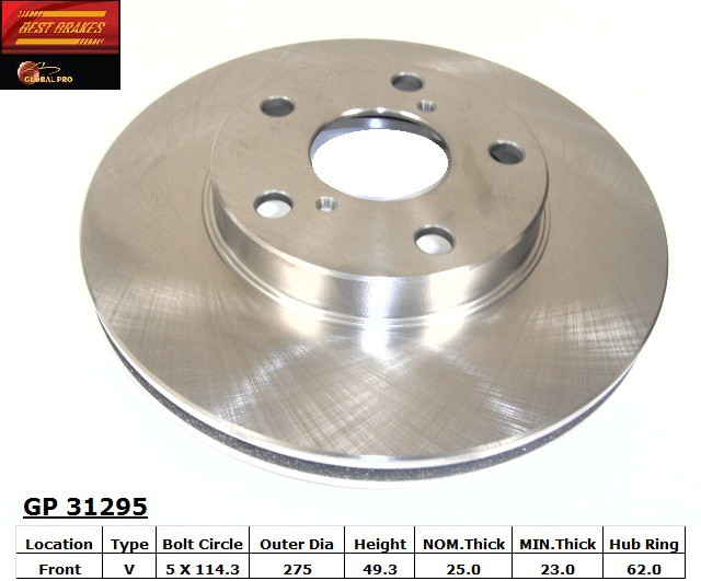 BEST BRAKES USA - Standard Brake Rotor (Front) - BBU GP31295