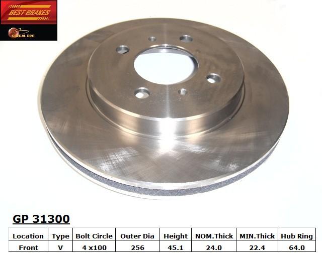 BEST BRAKES USA - Standard Brake Rotor - BBU GP31300