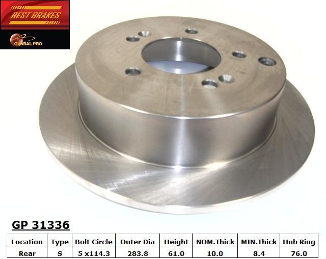 BEST BRAKES USA - Standard Brake Rotor (Rear) - BBU GP31336