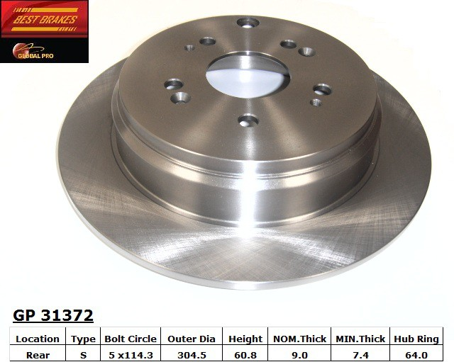 BEST BRAKES USA - Standard Brake Rotor (Rear) - BBU GP31372
