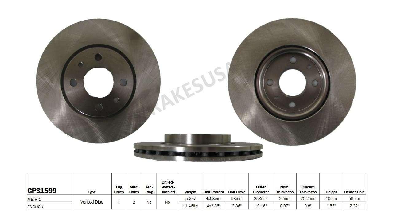 BEST BRAKES USA - Standard Brake Rotor (Front) - BBU GP31599