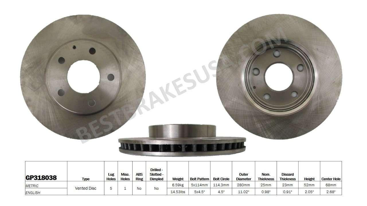 BEST BRAKES USA - Standard Brake Rotor (Front) - BBU GP318038