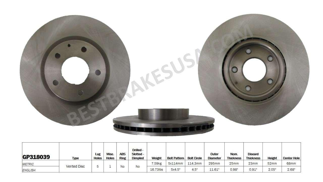 BEST BRAKES USA - Standard Brake Rotor (Front) - BBU GP318039