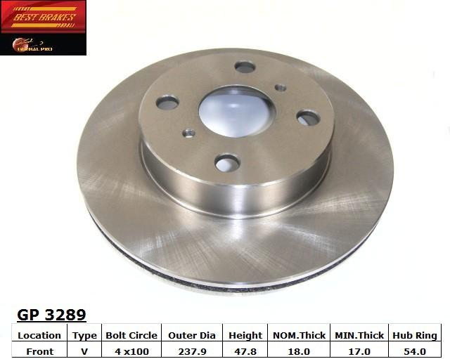 BEST BRAKES USA - Standard Brake Rotor - BBU GP3289