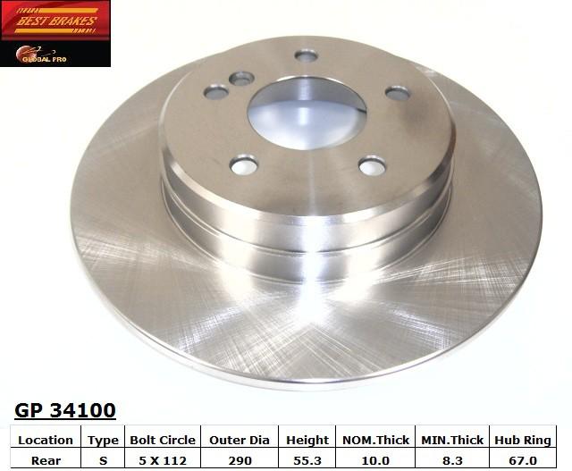 BEST BRAKES USA - Standard Brake Rotor (Rear) - BBU GP34100