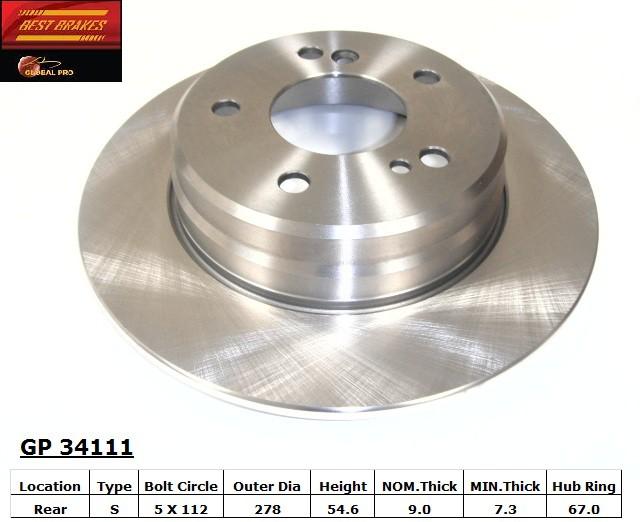 BEST BRAKES USA - Standard Brake Rotor (Rear) - BBU GP34111