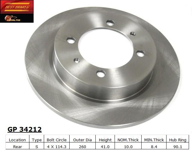 BEST BRAKES USA - Standard Brake Rotor - BBU GP34212