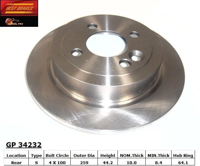 BEST BRAKES USA - Standard Brake Rotor - BBU GP34232