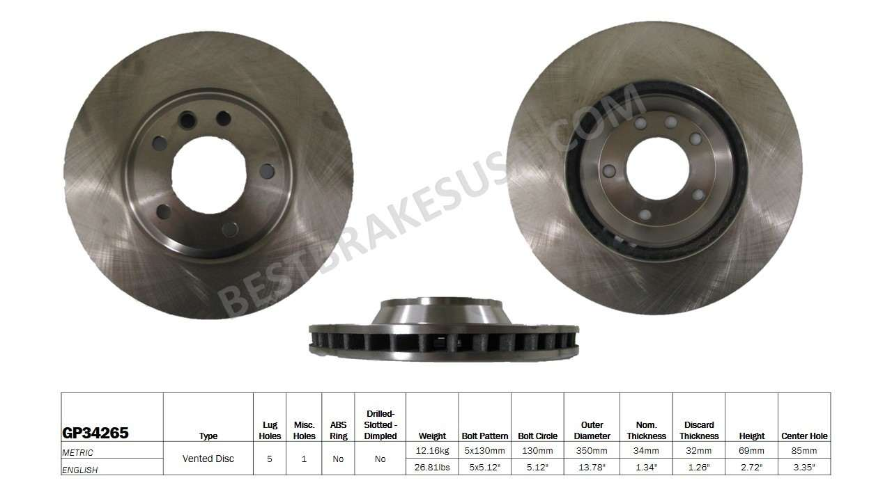BEST BRAKES USA - Standard Brake Rotor (Front Left) - BBU GP34265