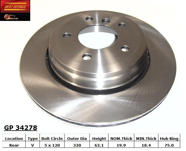 BEST BRAKES USA - Standard Brake Rotor (Rear) - BBU GP34278