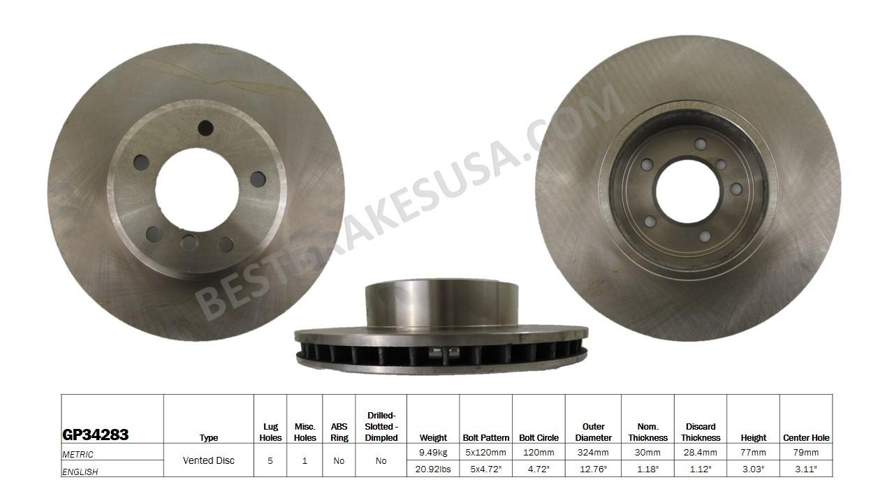 BEST BRAKES USA - Standard Brake Rotor (Front) - BBU GP34283