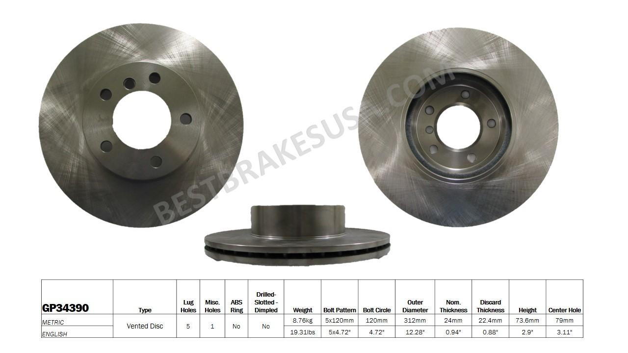 BEST BRAKES USA - Standard Brake Rotor (Front) - BBU GP34390