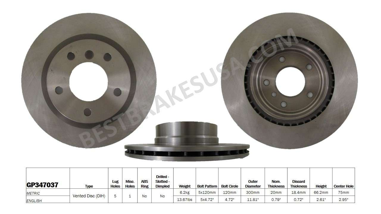 BEST BRAKES USA - Standard Brake Rotor (Rear) - BBU GP347037