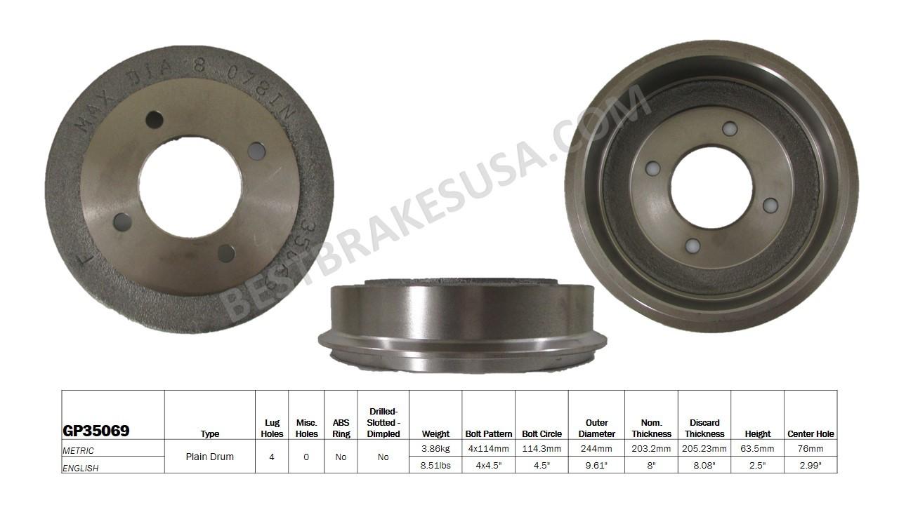 BEST BRAKES USA - Standard Brake Drum - BBU GP35069