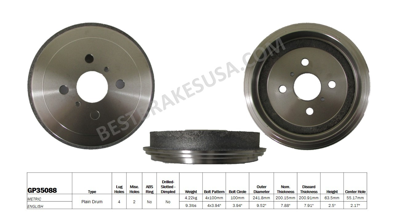 BEST BRAKES USA - Standard Brake Drum - BBU GP35088