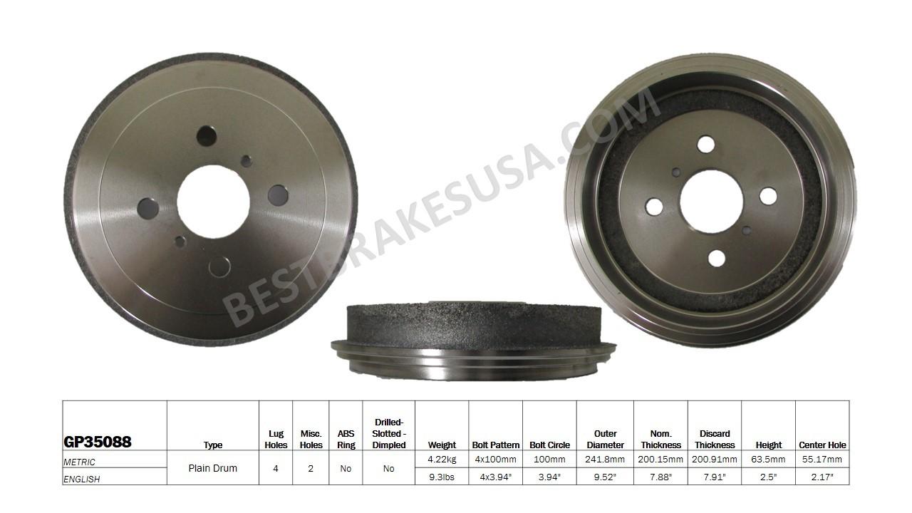 BEST BRAKES USA - Standard Brake Drum - BBU GP35088