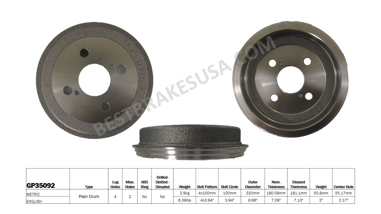 BEST BRAKES USA - Standard Brake Drum - BBU GP35092