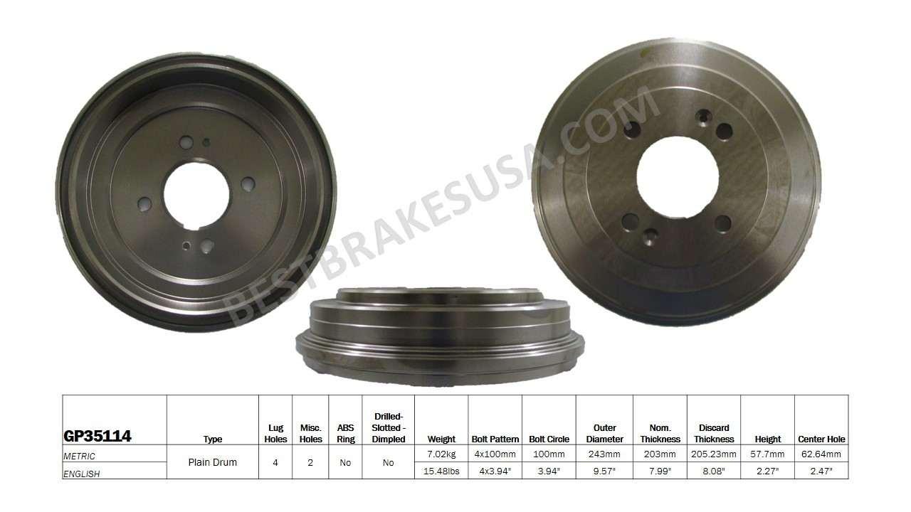 BEST BRAKES USA - Standard Brake Drum - BBU GP35114