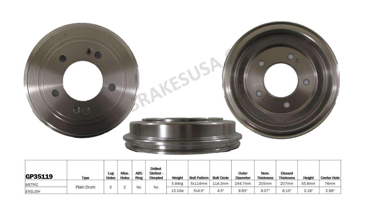 BEST BRAKES USA - Standard Brake Drum - BBU GP35119