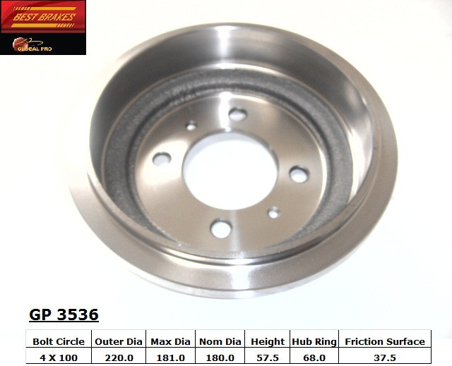 BEST BRAKES USA - Standard Brake Drum - BBU GP3536