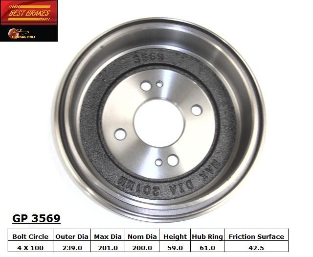 BEST BRAKES USA - Standard Brake Drum - BBU GP3569