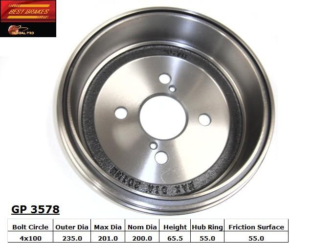 BEST BRAKES USA - Standard Brake Drum - BBU GP3578