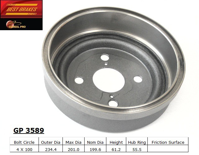 BEST BRAKES USA - Standard Brake Drum - BBU GP3589