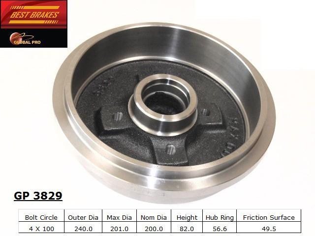 BEST BRAKES USA - Standard Brake Drum - BBU GP3829