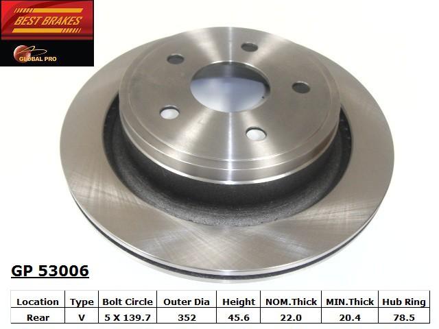 BEST BRAKES USA - Standard Brake Rotor (Rear) - BBU GP53006