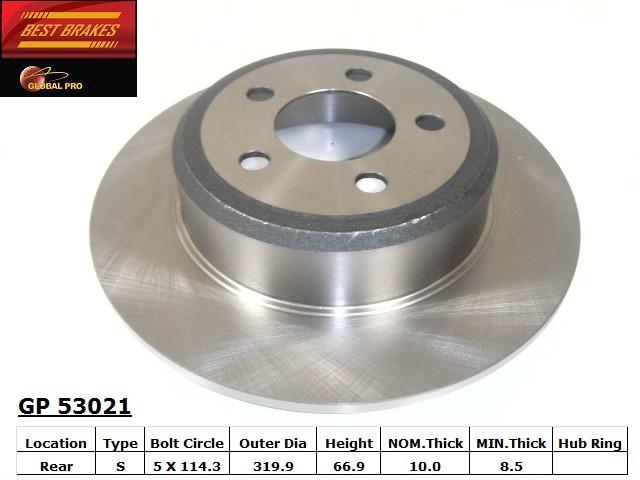BEST BRAKES USA - Standard Brake Rotor (Rear) - BBU GP53021