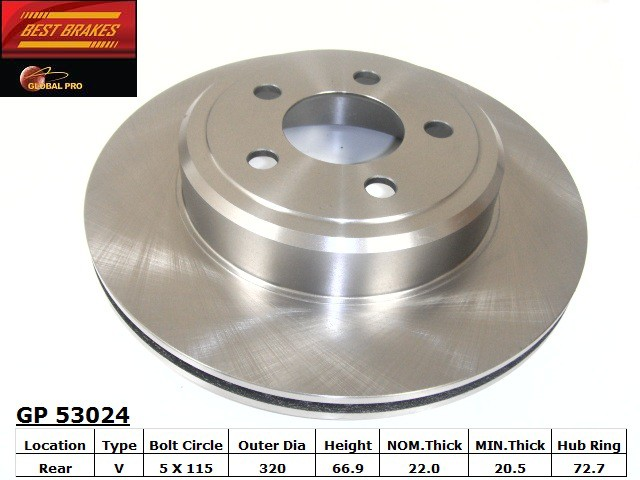 BEST BRAKES USA - Standard Brake Rotor (Rear) - BBU GP53024
