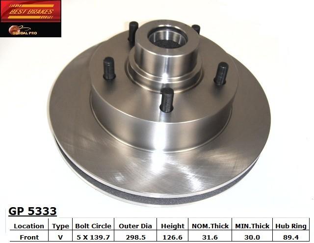 BEST BRAKES USA - Standard Brake Rotor (Front) - BBU GP5333