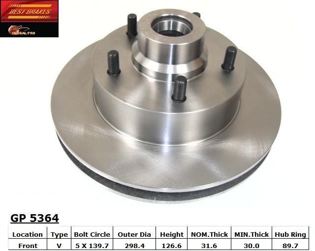 BEST BRAKES USA - Standard Brake Rotor (Front) - BBU GP5364