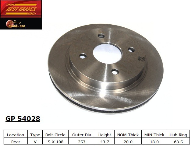 BEST BRAKES USA - Standard Brake Rotor (Rear) - BBU GP54028