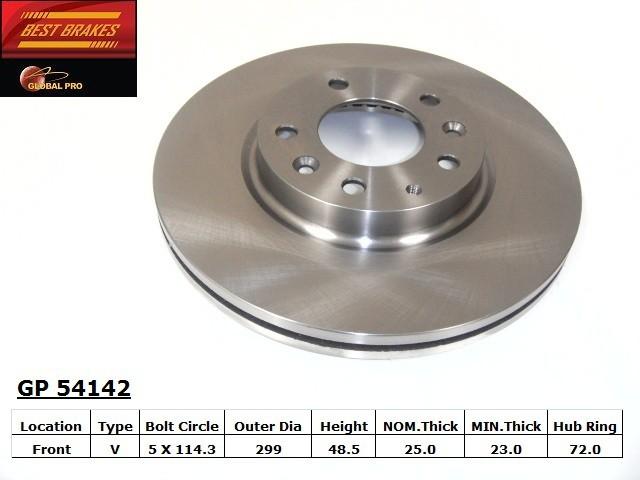 BEST BRAKES USA - Standard Brake Rotor (Front) - BBU GP54142