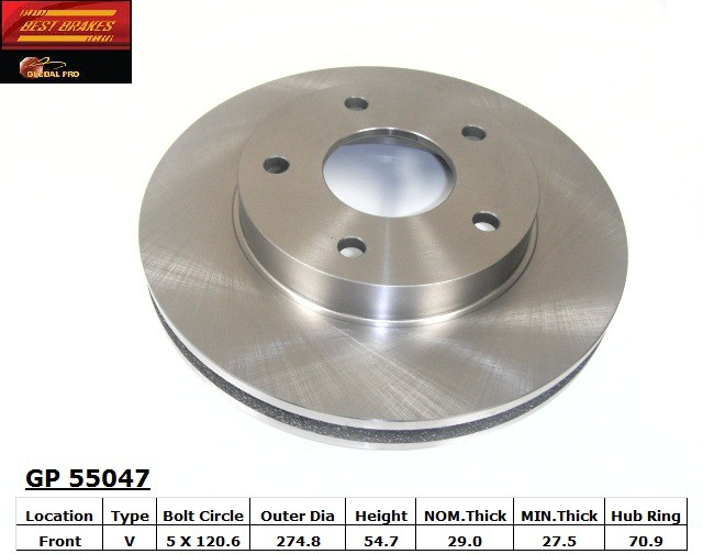 BEST BRAKES USA - Standard Brake Rotor (Front) - BBU GP55047
