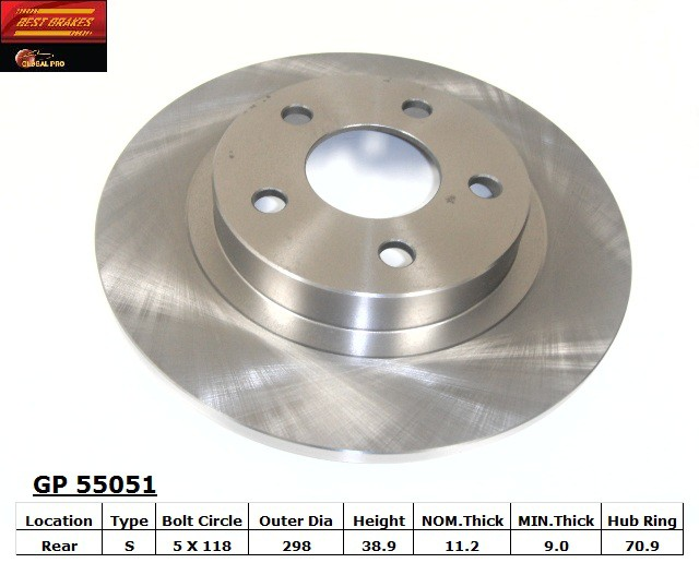 BEST BRAKES USA - Standard Brake Rotor - BBU GP55051