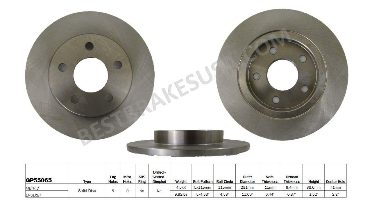 BEST BRAKES USA - Standard Brake Rotor (Rear) - BBU GP55065