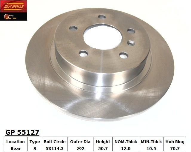 BEST BRAKES USA - Standard Brake Rotor (Rear) - BBU GP55127