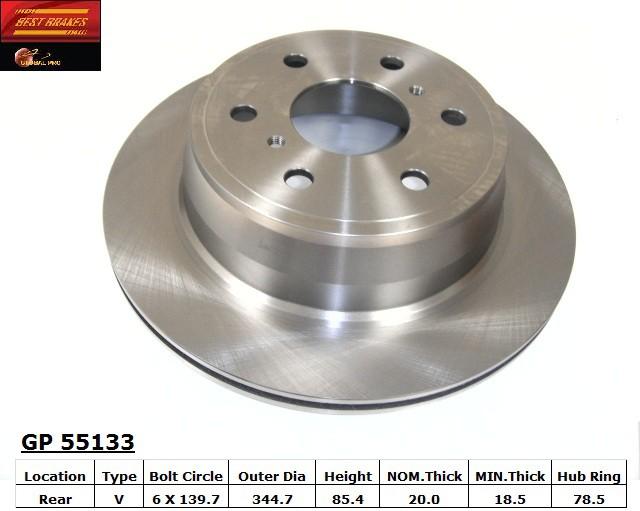 BEST BRAKES USA - Standard Brake Rotor (Rear) - BBU GP55133